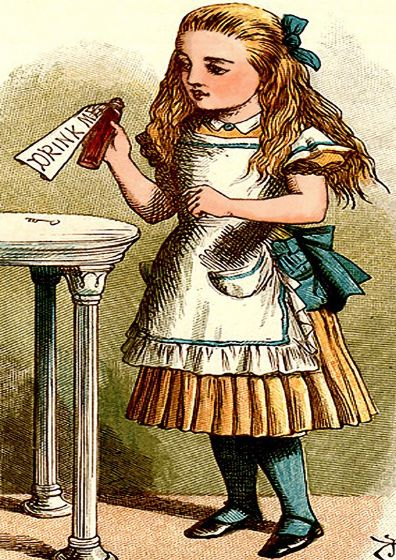 Tenniel, John: Drink Me - Alice in Wonderland Illustration. Fine Art Print/Poster. Sizes: A4/A3/A2/A1 (002267)